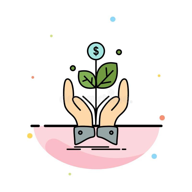 negócio, empresa, crescimento, planta, vetor liso do ícone da cor da elevação ilustração do vetor