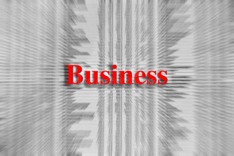 Negócio escrito no vermelho com um artigo de jornal borrado fotos de stock