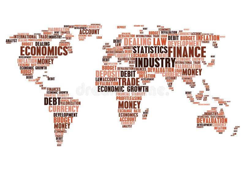Negócio, etiquetas da nuvem da palavra da finança, forma do mapa do mundo ilustração do vetor