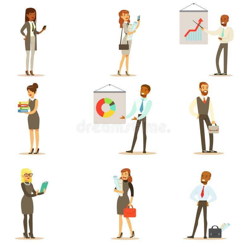 Negócio, finança e empregados de escritório nos ternos ocupados no grupo do trabalho de homem de negócios de sorriso And Business ilustração royalty free