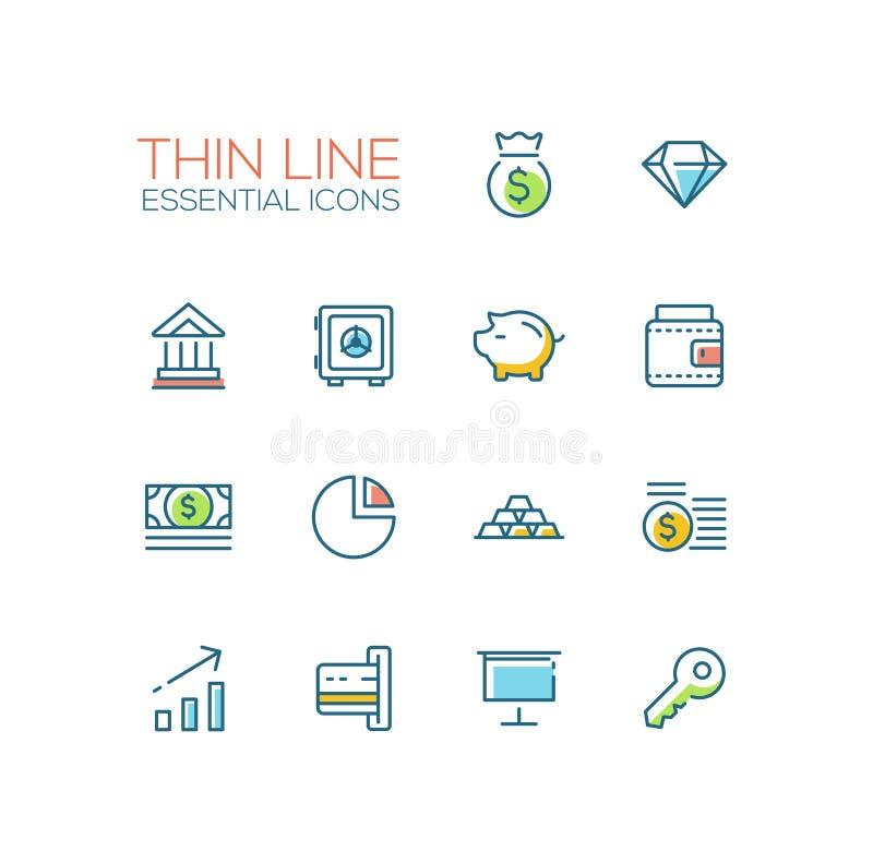 Negócio, finança, símbolos - linha grossa ícones do projeto ajustados ilustração royalty free