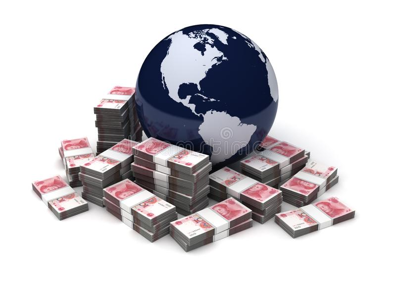 Negócio global com chinês Yuan ilustração do vetor