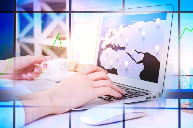 Negócio global e conceito dos gps fotografia de stock