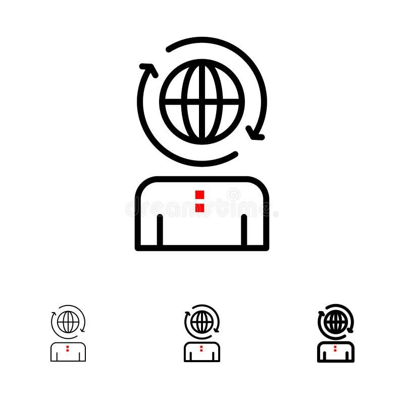 Negócio, global, gestão, linha preta corajosa e fina moderna grupo do ícone ilustração do vetor