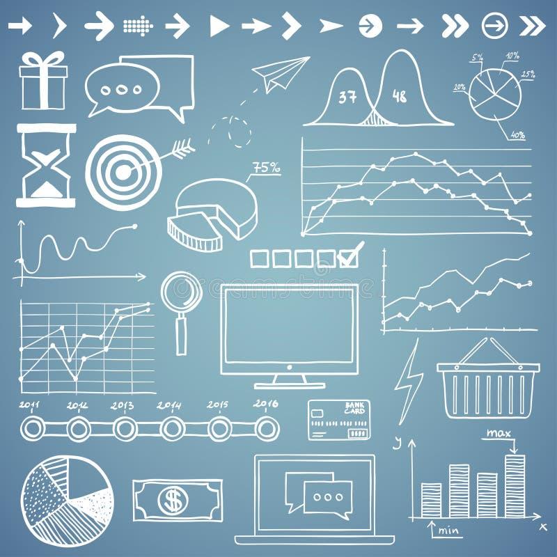 Negócio, gráfico dos elementos da garatuja da tração da mão do finanse ilustração do vetor