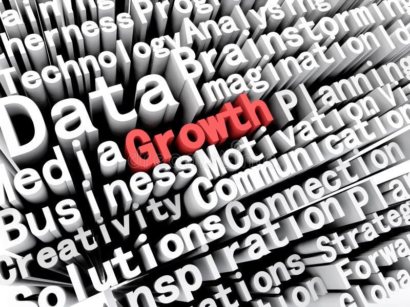 Negócio gráfico e crescimento de descrição do conceito escritos no vermelho ilustração stock