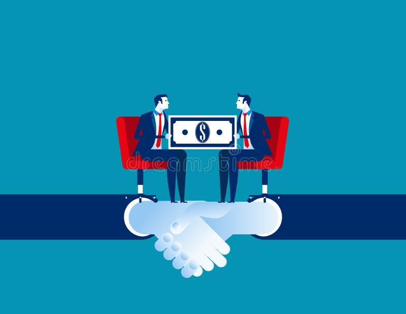 Negócio incorporado e acordo para o negócio do comércio Ilustra??o do vetor do neg?cio do conceito Desenhos animados lisos do neg ilustração do vetor