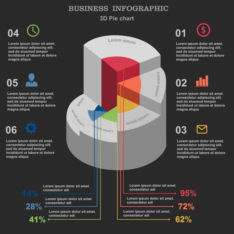 Negócio Infographic carta de torta 3d Disposição para suas opções ou etapas ilustração royalty free
