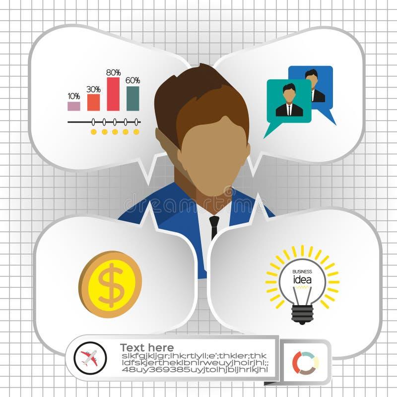 Negócio infographic com ícones, pessoas, carta e crachá, projeto liso ilustração do vetor
