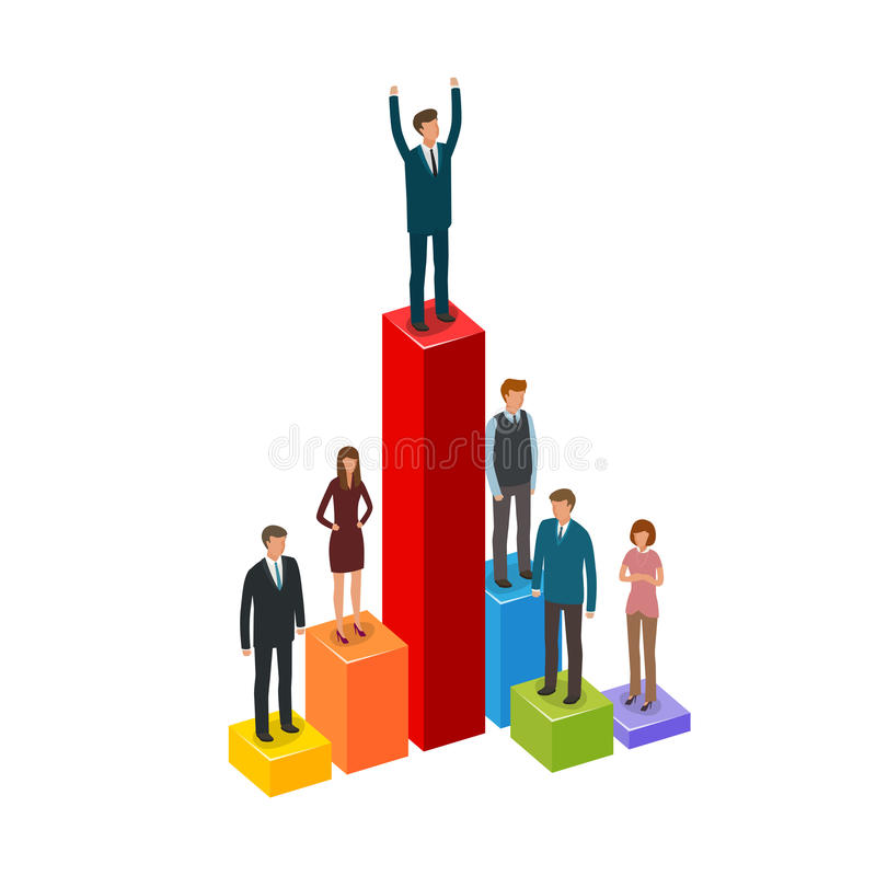 Negócio Infographics Carreira, realização, avanço, conceito do homem de negócios ilustração royalty free
