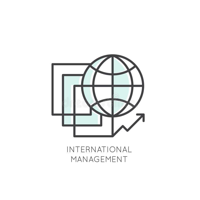 Negócio internacional, gestão, mercado, mercado, conexão ilustração do vetor