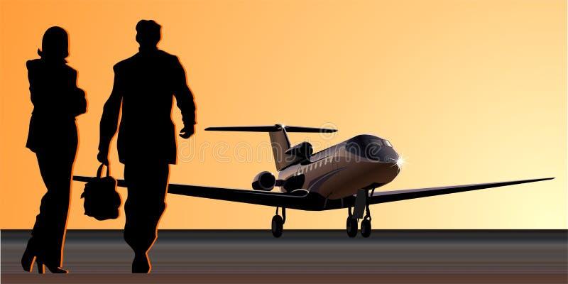 Negócio-jato do vetor na pista de decolagem ilustração stock