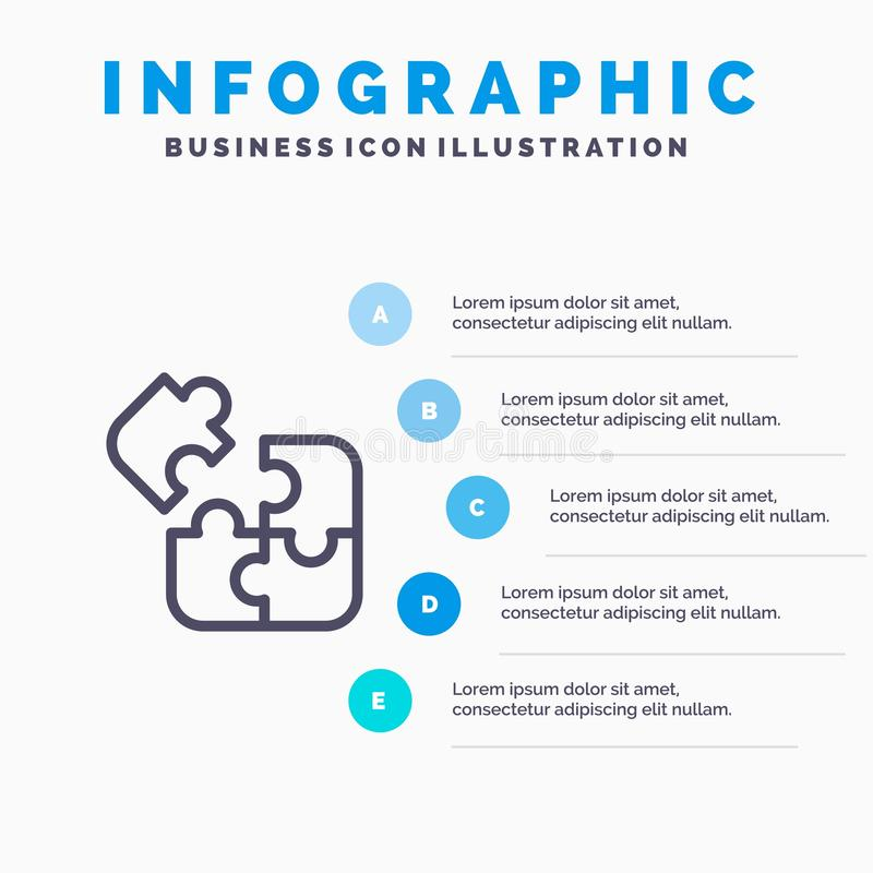 Negócio, jogo, lógica, enigma, linha quadrada ícone com fundo do infographics da apresentação de 5 etapas ilustração stock