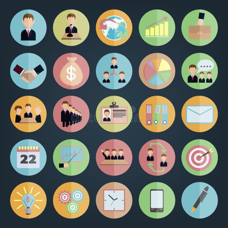 Negócio liso dos ícones ilustração stock