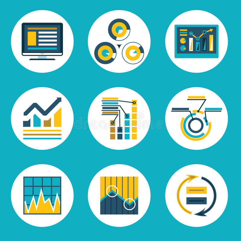 Negócio liso retro Infographics do estilo do projeto dos dados ilustração stock