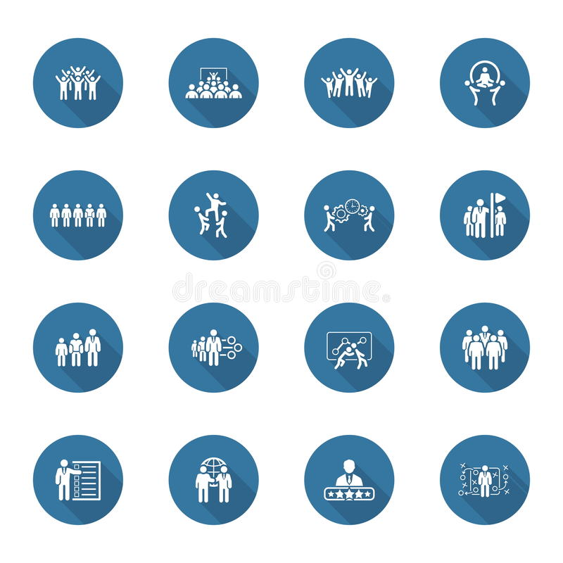 Negócio liso Team Icons Set do projeto ilustração royalty free