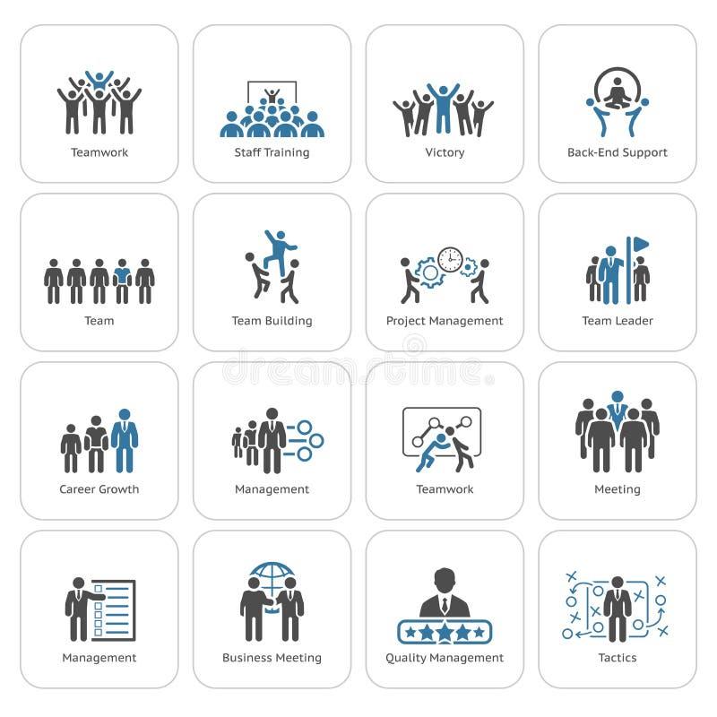 Negócio liso Team Icons Set do projeto ilustração do vetor