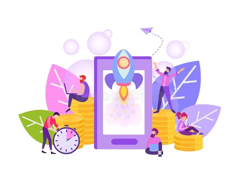 Negócio móvel da partida, app móvel tornando-se ilustração do vetor