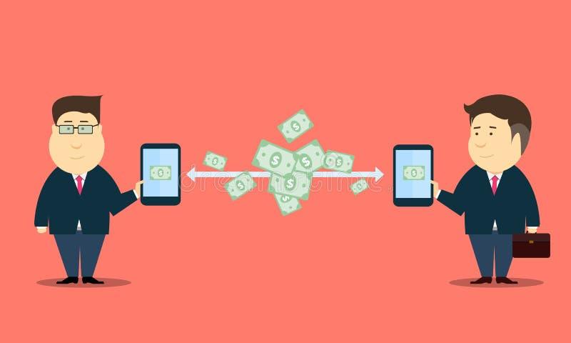 Negócio móvel na linha fundos do vetor da transação ilustração do vetor