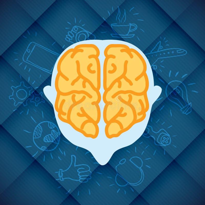 Negócio moderno Brain Concepts In Flat Design ilustração do vetor