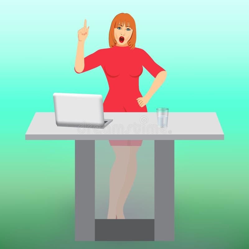 Neg?cio-mulher preocupada que aponta o dedo acima ilustração royalty free
