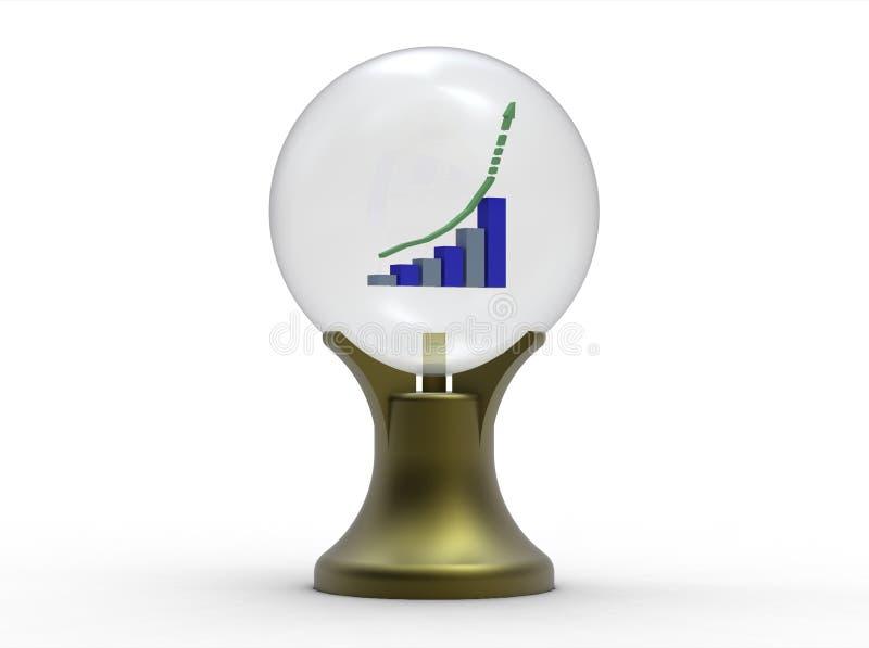 Negócio previsto com esfera de cristal ilustração do vetor