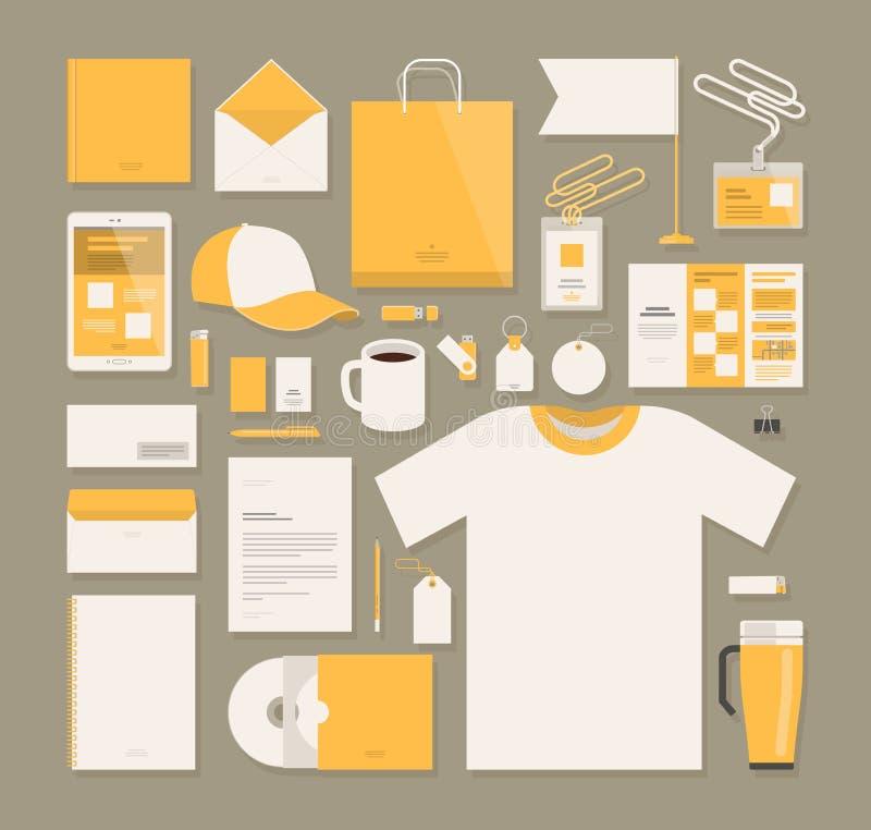 Negócio, projeto do molde da identidade corporativa Artigos de papelaria, propaganda, conceito do mercado Ilustração do vetor ilustração stock