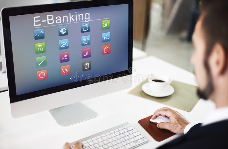 Negócio que deposita o conceito em linha da transação financeira do pagamento foto de stock