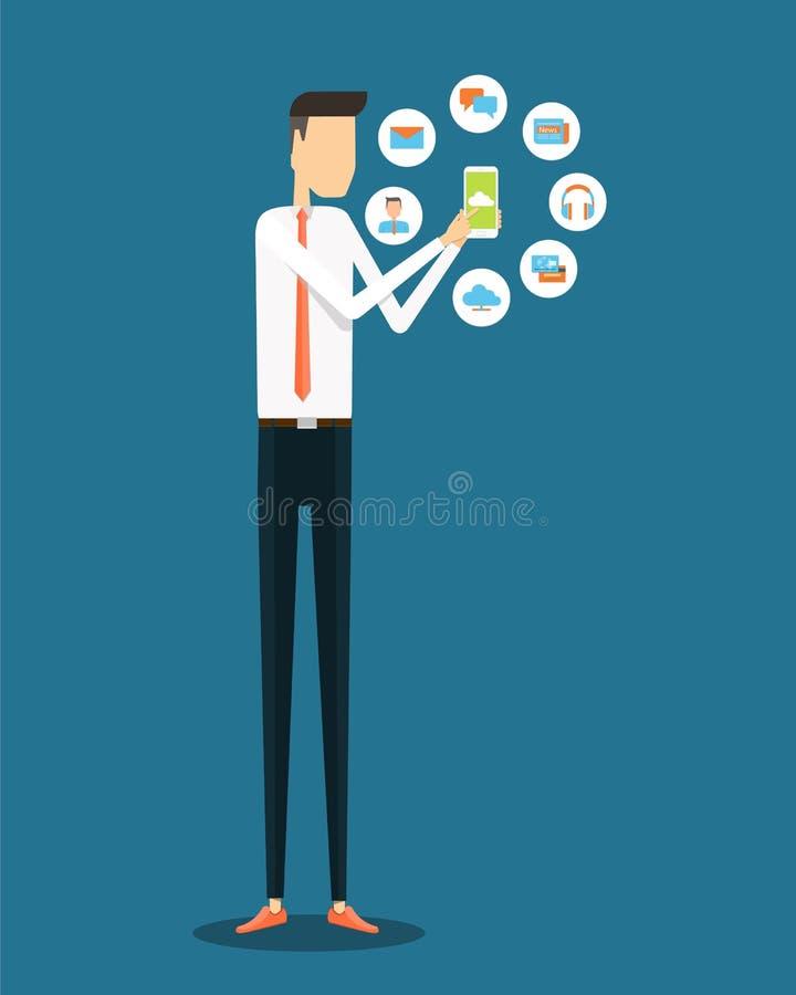 Negócio que trabalha em linha na aplicação móvel ilustração do vetor