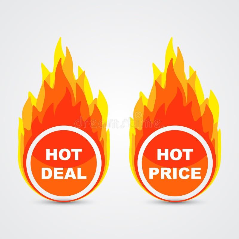 Negócio quente e botões quentes do preço ilustração stock