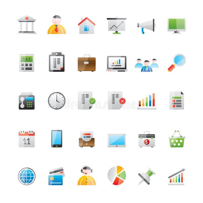 Negócio realístico, escritório e ícones 1 da finança ilustração stock
