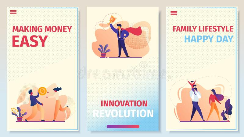 Negócio, relações, grupo móvel da página do App do sucesso ilustração stock