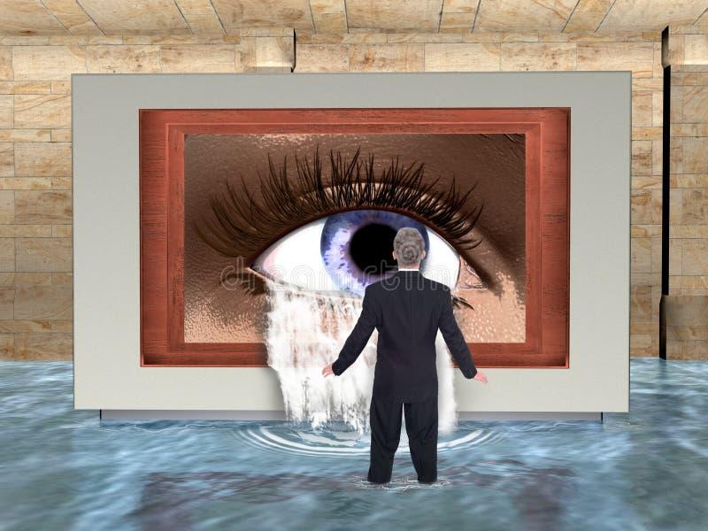 Negócio surreal, vendas, mercado, água ilustração stock