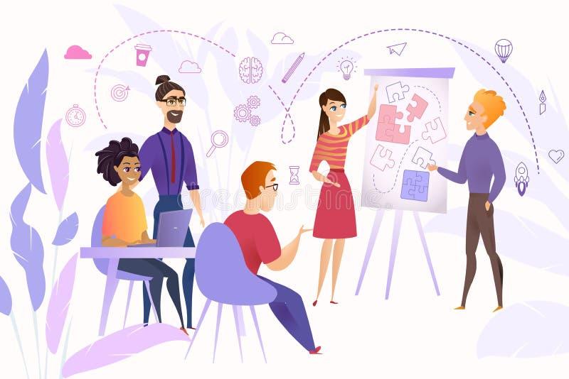 Negócio Team Brainstorming Cartoon Vetora Concept ilustração do vetor