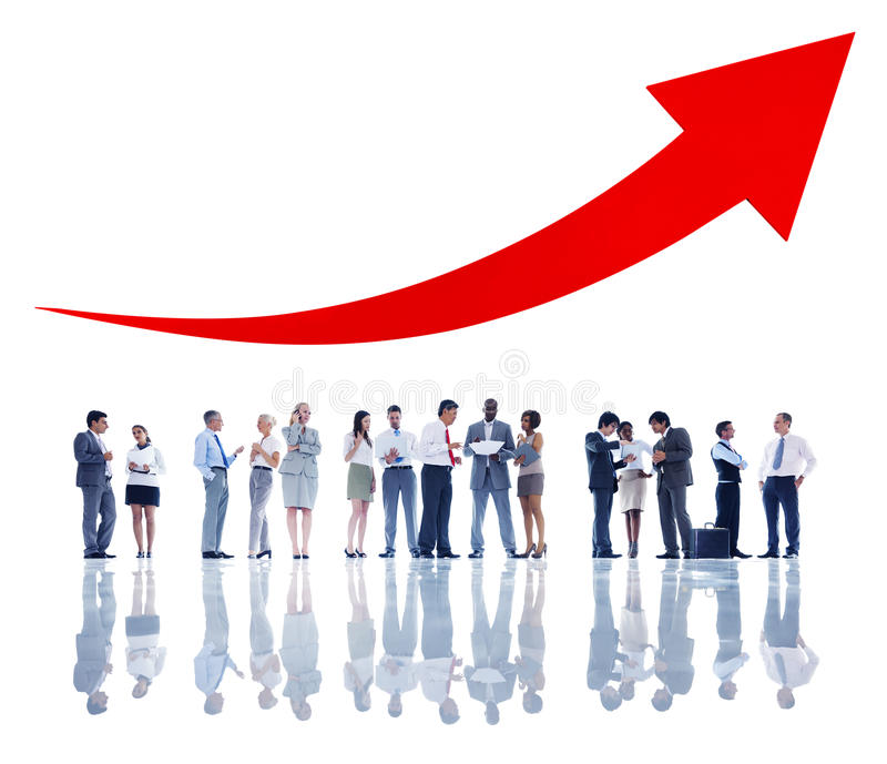 Negócio Team Evaluating Economic Trends foto de stock