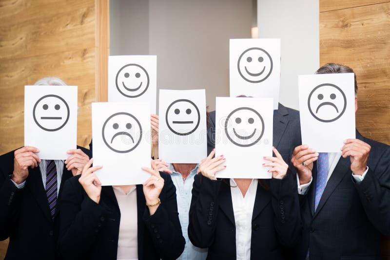 Negócio Team Feeling Sad, feliz ou neutro foto de stock royalty free