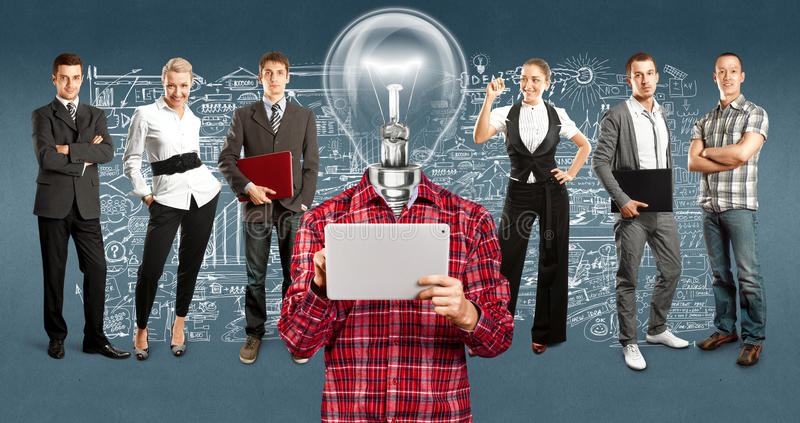Negócio Team With Lamp Head fotos de stock