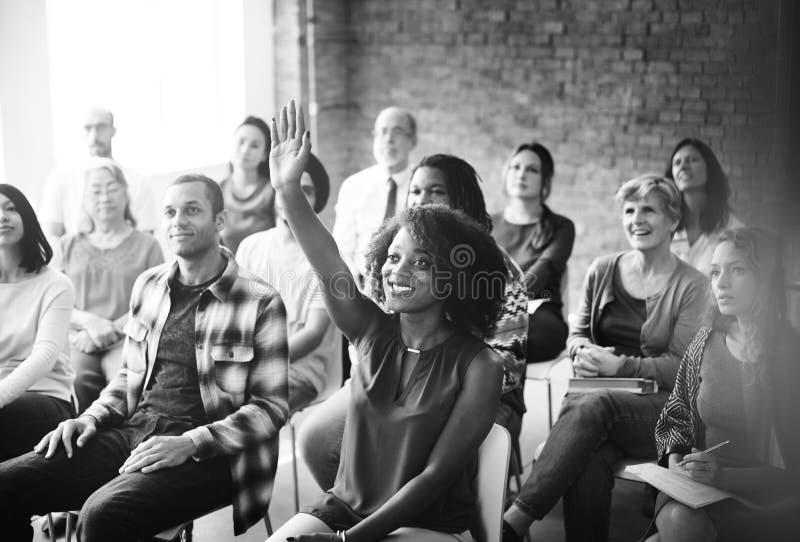 Negócio Team Meeting Seminar Training Concept imagem de stock