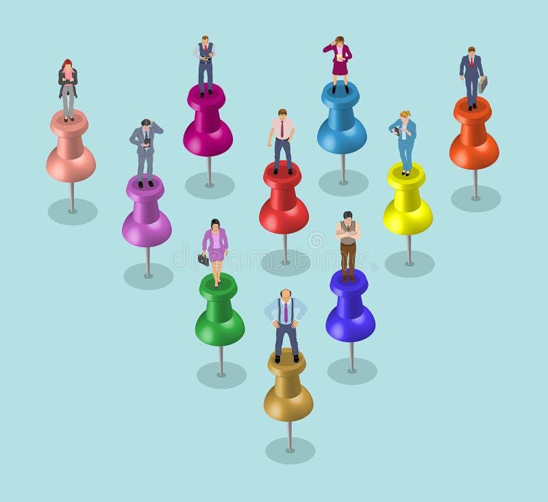 Negócio Team Over Pushpins - trabalhos de equipa ilustração do vetor
