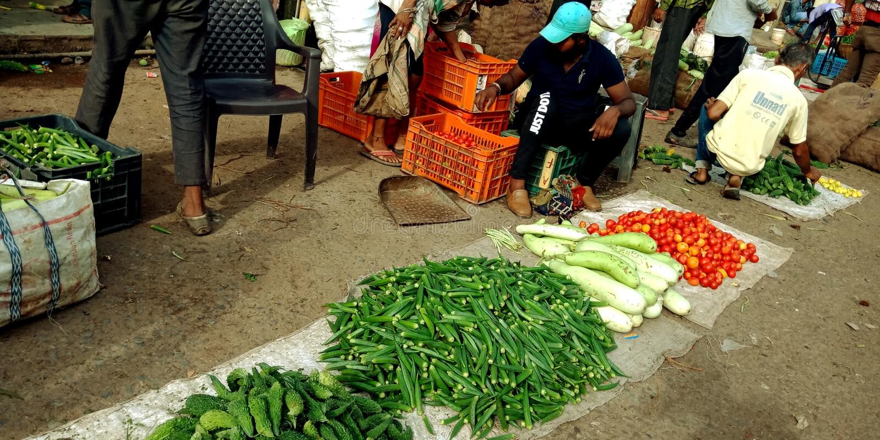 Negócio vegetal rural indiano na rua foto de stock