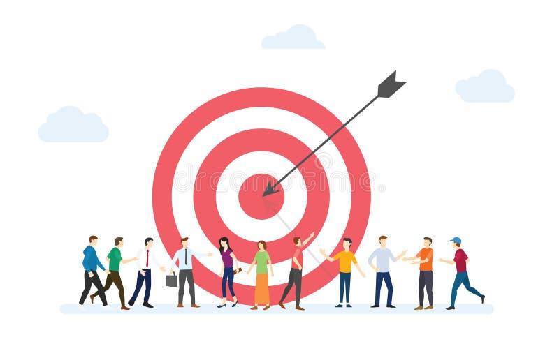 Negócios de clientes-alvo para marketing com dart e clientes pessoas multidões com estilo plano moderno - vetor ilustração royalty free