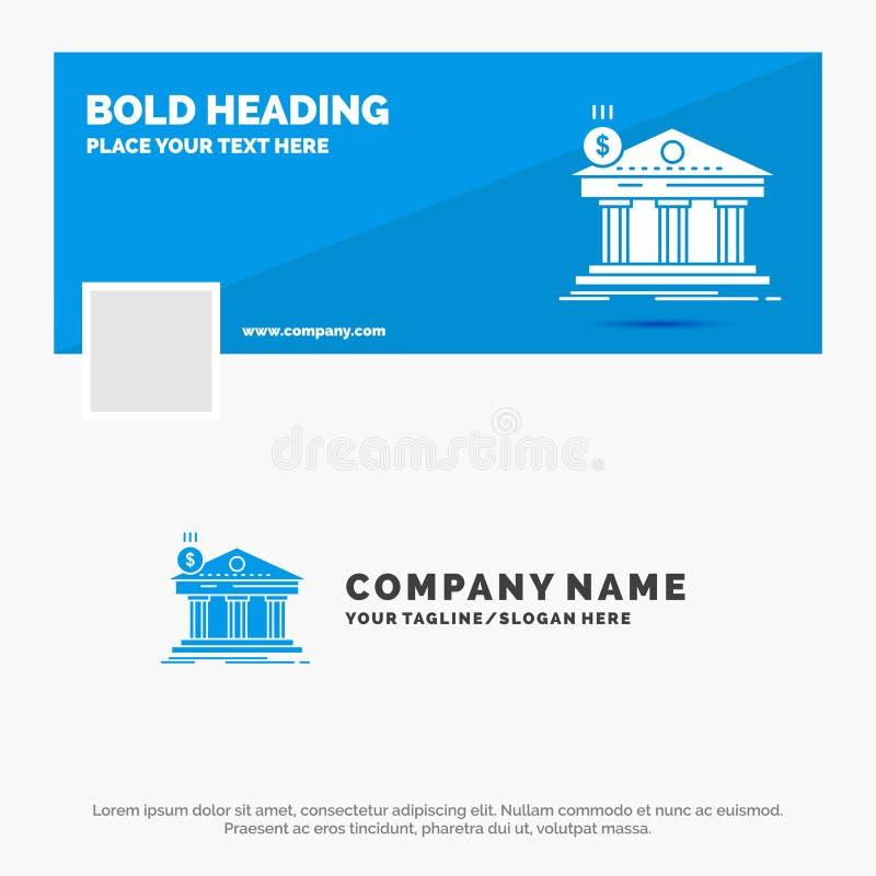 Neg?cio azul Logo Template para a arquitetura, banco, opera??o banc?ria, constru??o, federal Projeto da bandeira do espa?o tempor ilustração stock