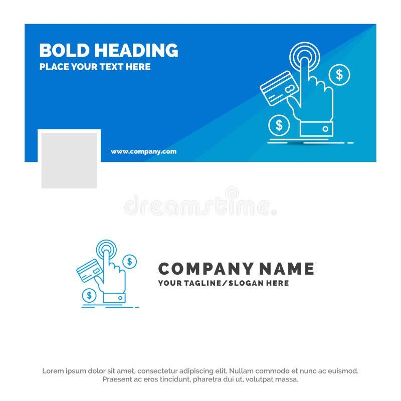 Neg?cio azul Logo Template para ppc, clique, pagamento, pagamento, Web Projeto da bandeira do espa?o temporal de Facebook fundo d ilustração royalty free