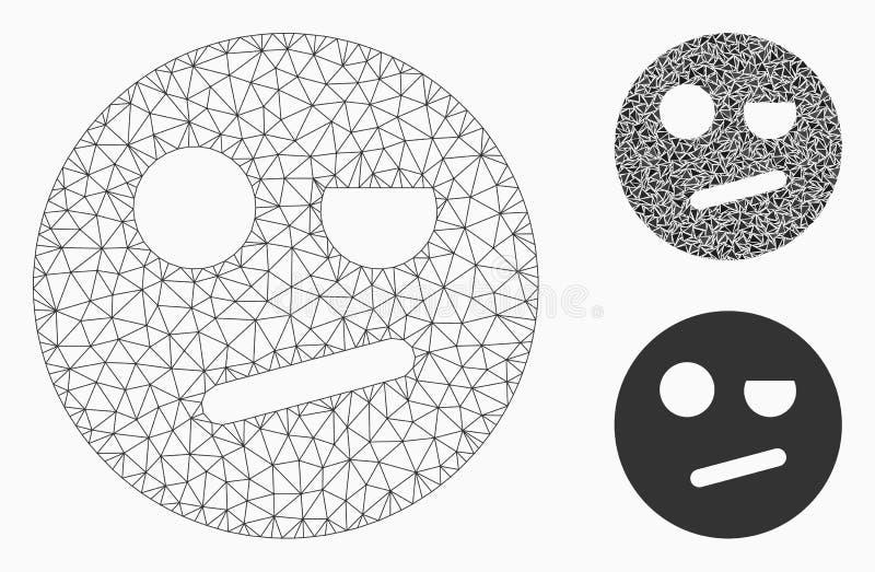 Negação Smiley Vetora Mesh Network Model e ícone do mosaico do triângulo ilustração royalty free