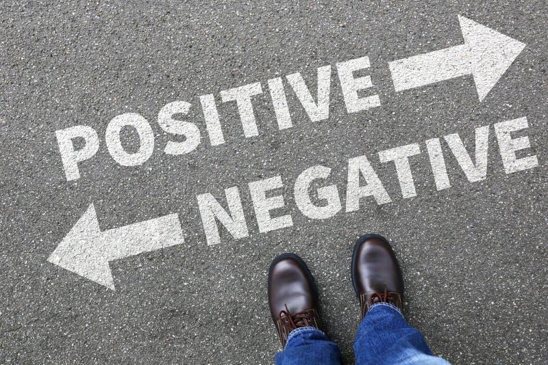 Negativ positiv tänkande bra dålig tankeinställningaffär c royaltyfri bild