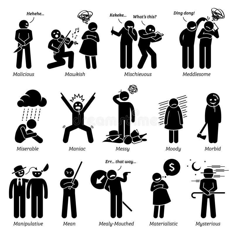 Negativa personlighetsteckendrag Clipart stock illustrationer