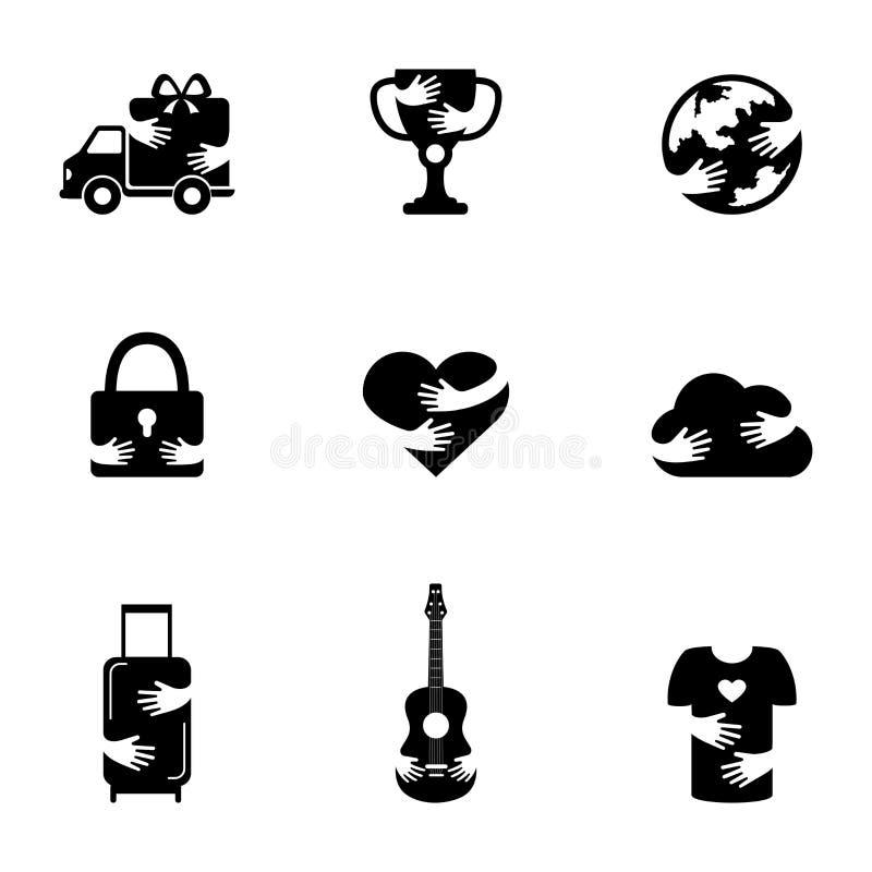 Negativa utrymmesymboler ställde in för olika ämnen Hemsändning, internetteknologi och förälskelsekontursymboler trof? stock illustrationer