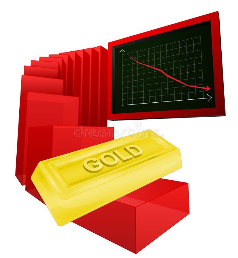 Negative business graph of golden goods vector. Ilustration stock illustration