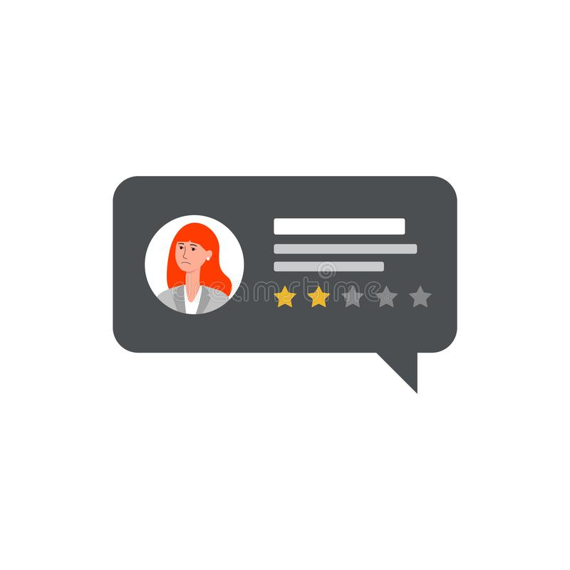 Negative customer review on isolated rectangle speech bubble with cartoon woman avatar vector illustration