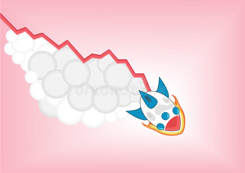 Negative decreasing growth chart with cartoon rocket falling down as infographic stock illustration